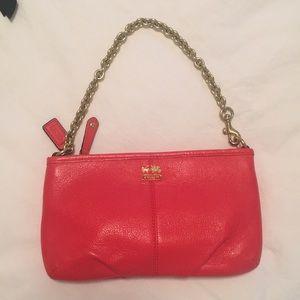 Coach leather red wristlet/pouchette